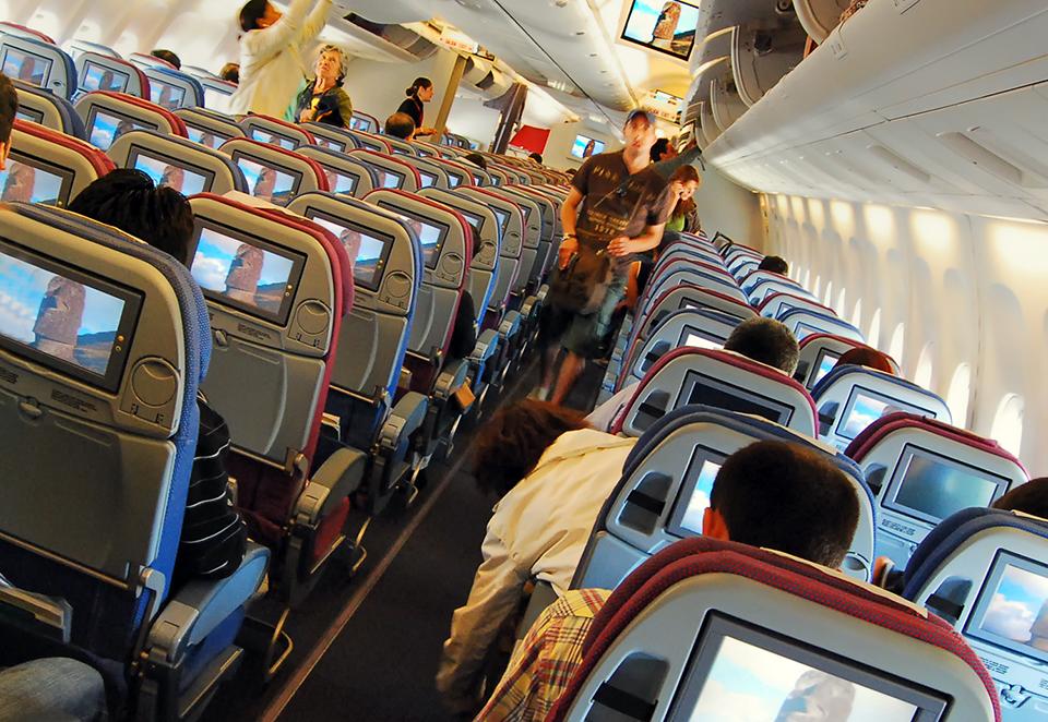 Abordando el avion